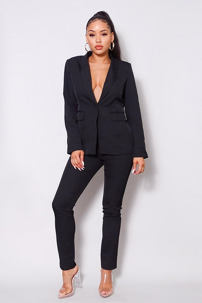 One Button Blazer Jacket & Tapered Trouser Set