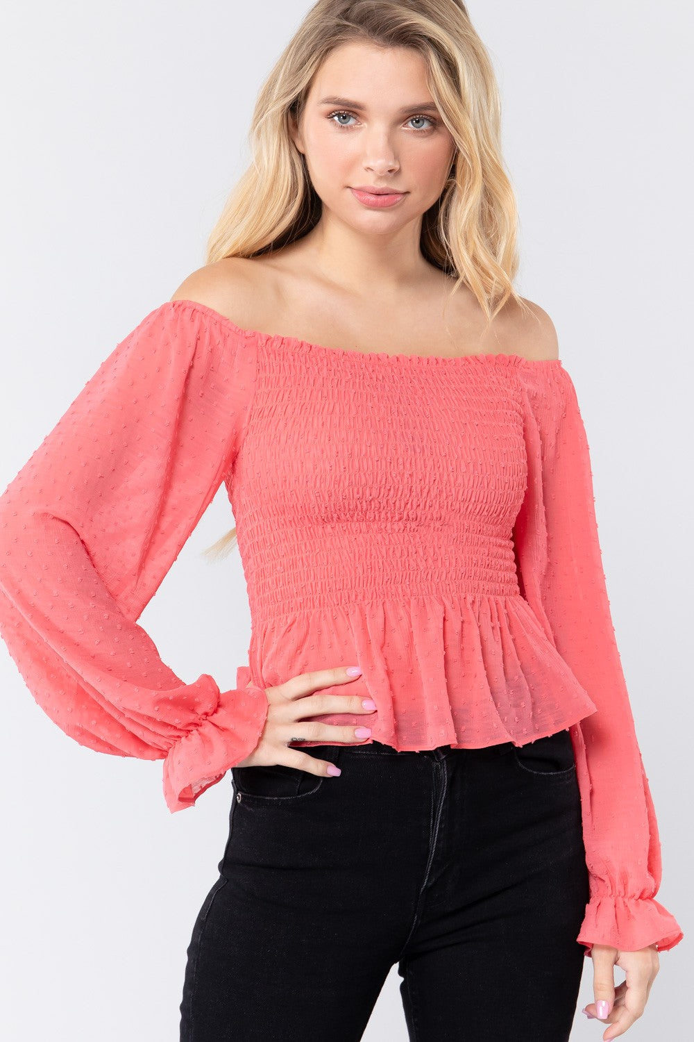 Off Shoulder Clip Dot Woven Top