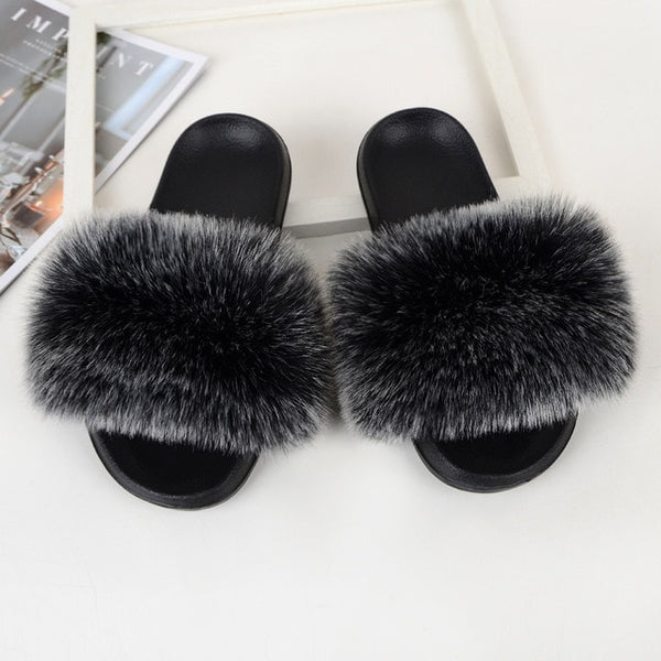 Fur Slippers Women Real Fox Fur Slides Comfort Home Furry Flat Sandals Female Cute Fluffy House Shoes Sweet Ladies Shoes Size 45