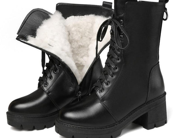 Hot sale genuine leather boots women thick fur wool winter snow boots ladies lace up motorcycle platform boots shoe