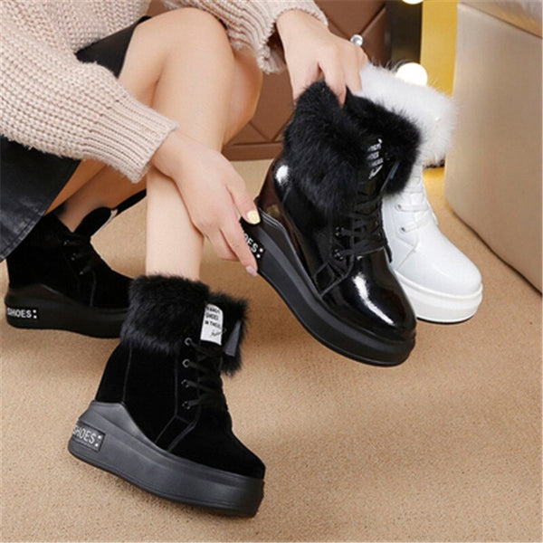 Winter Fashion Boots Women's Leather Cotton Shoes Outdoor Keep Warm Women Snow Boots Trend Hot Sale Sneakers Lace-up Women Shoes