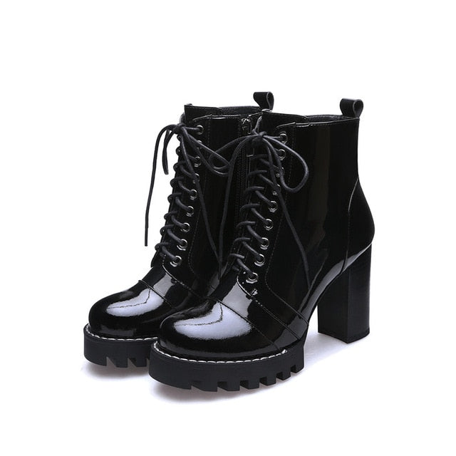 New Fashion Cow Patent Leather Women Ankle Boots Women Autumn Winter Genuine Leather Shoes Woman Platforms Ladies Boots