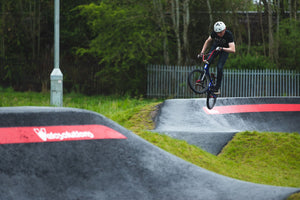 leo jumping at wishawhill wood pump track
