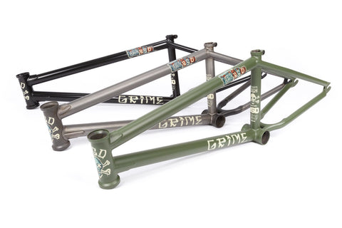 3 colourways of the bsd grime bmx frame