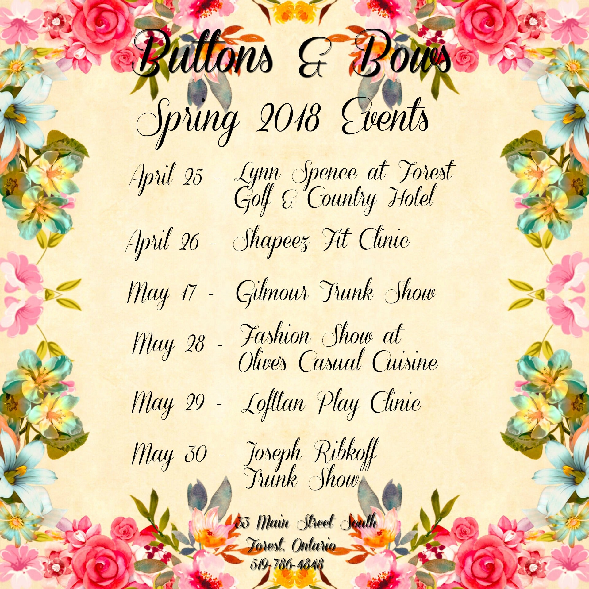 Buttons & Bows Spring 2018 Events