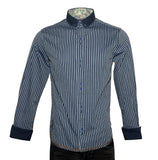 Men's Long Sleeve Blue Mod Rocker Button up Fashion Shirt by English Heroes-3-Halo