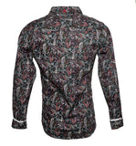 Men's Long Sleeve Button up Rock and Roll Fashion Paisley Shirt back