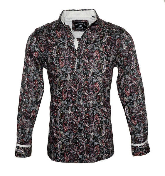 Men's Long Sleeve Button up Rock and Roll Fashion Paisley Shirt