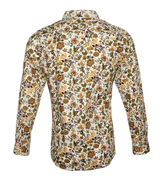 Men's Long Sleeve Button up Rock and Roll Fashion Shirt Floral Shirt in Brown2