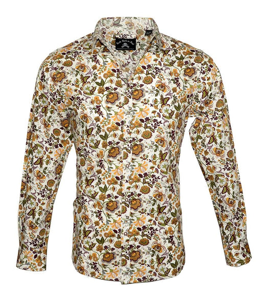Men's Long Sleeve Button up Rock and Roll Fashion Shirt Floral Shirt in Brown1