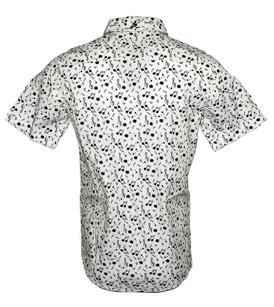 Men's Short Sleeve Button up Fashion Music Notes Shirt by Rock Roll n Soul in White-Music on My Mind-2