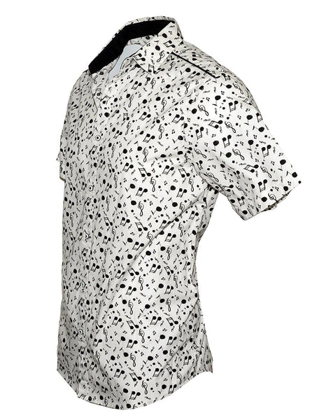 Men's Short Sleeve Button up Fashion Music Notes Shirt by Rock Roll n Soul in White-Music on My Mind-3