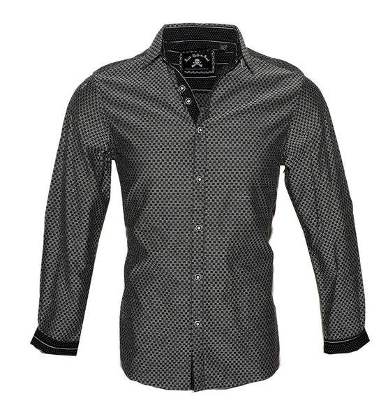 Men's Long Sleeve Button up Rock and Roll Black Fashion Shirt Ching-a-Ling2