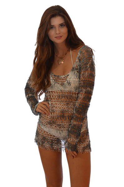 K706 — Tie Dye Crochet Cover Up / Top in Green/White