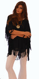 K795 — Poncho with Fringe in Black