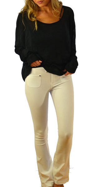 K767 Boot Cut Stretch Jeans in White