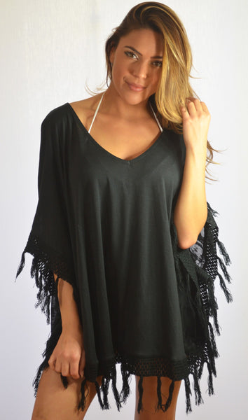 K805 — Supima Poncho W/Sheer Back in Black