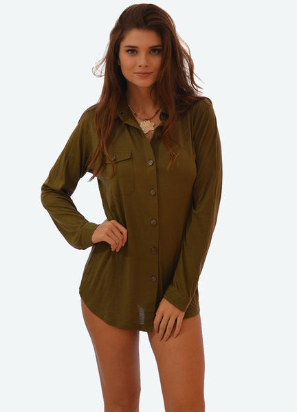 K909 Easy, Supima Button Down in Military Green