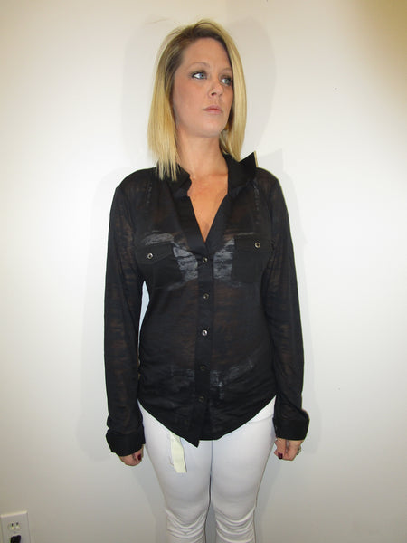 K225— Sheer Button Up Long Sleeve with Pockets in Black