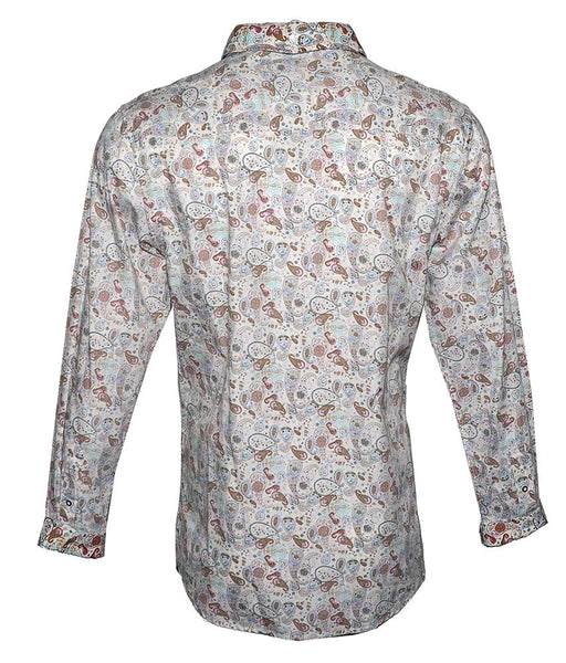 Men's Long Sleeve Button up Rock and Roll Fashion Shirt Floral Shirt in Cream back