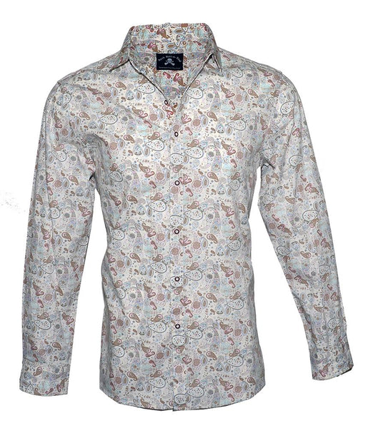 Men's Long Sleeve Button up Rock and Roll Fashion Shirt Floral Shirt in Cream