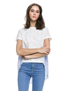 HIGH-LOW EMBROIDERED TOP