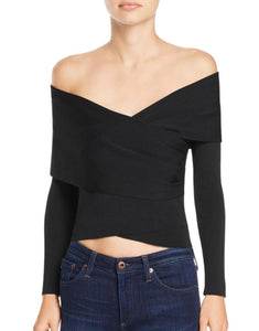 OFF THE SHOULDER CROP SWEATER