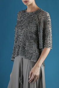 GLACIER GREY BEADED TOP