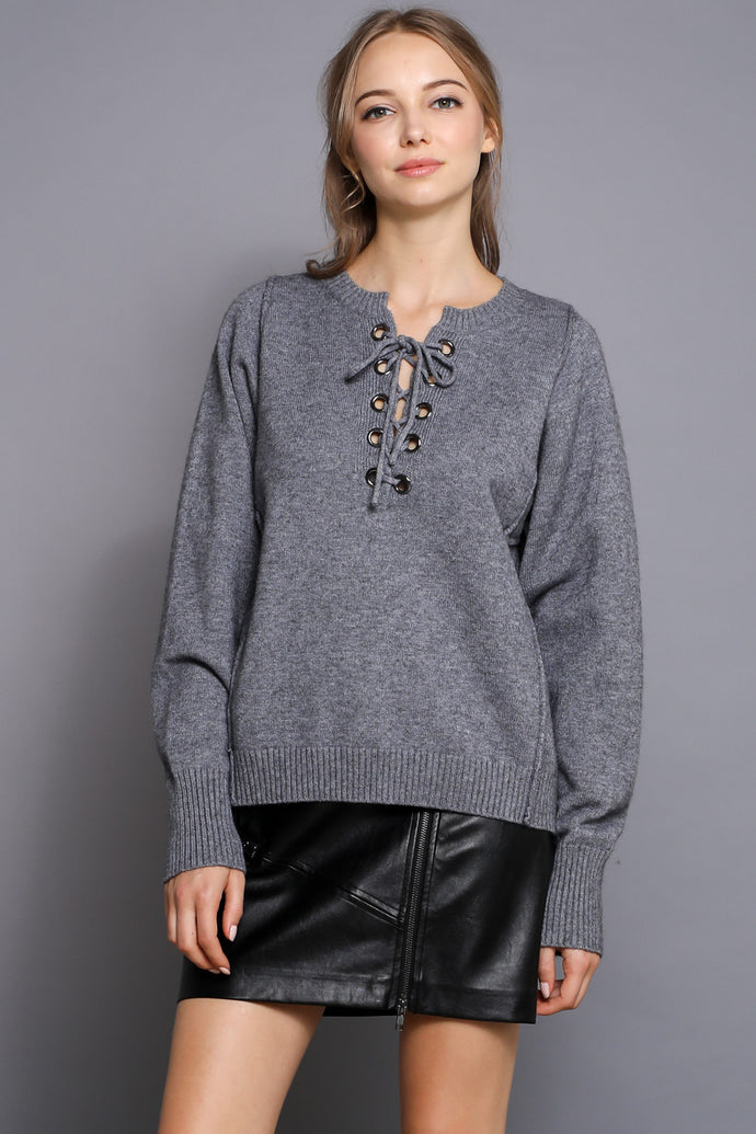 LACE UP COZY SWEATER