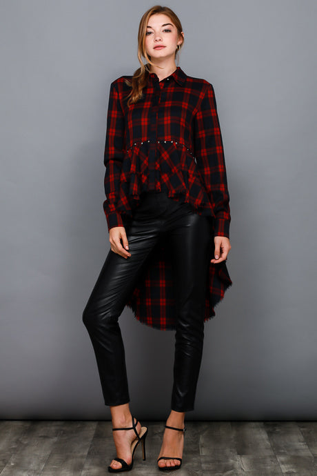 HIGH-LOW CHECKERED RUFFLE SHIRT