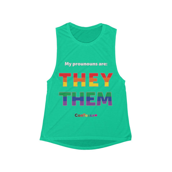 Rainbow My Pronouns They/Them - Women's Flowy Scoop Muscle Tank