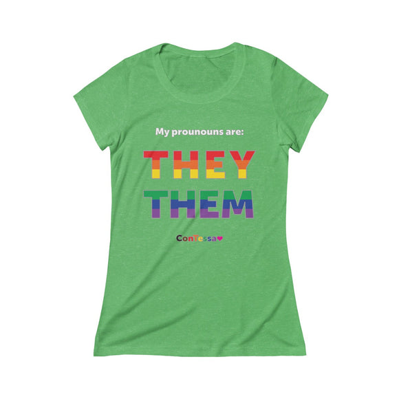 Rainbow My Pronouns They/Them - Triblend Short Sleeve Tee