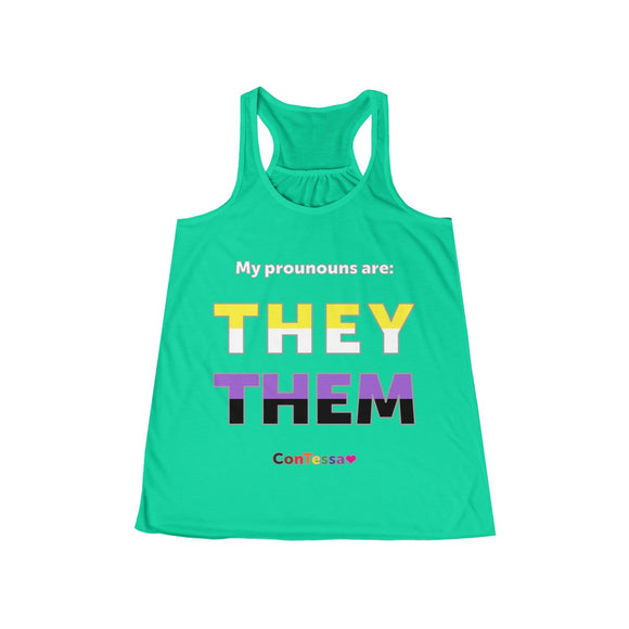 Nonbinary My Pronouns They/Them - Women's Flowy Racerback Tank