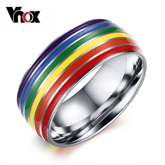 Vnox Gay Pride Wedding Rings for Women and Men Jewelry Stainless steel Engagement Rings 8mm