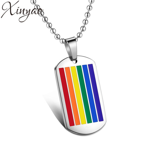 XINYAO Rainbow LGBT Necklaces & Pendants for Women Stainless Steel Choker Gay Lesbian LGBT Necklace Pride Jewelry Collier Femme