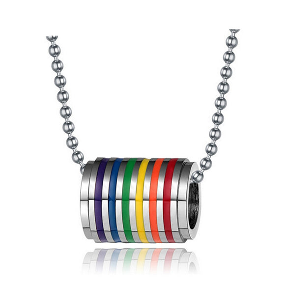 fashion stainless steel rainbow loop necklace pendant for men and women gay pride jewelry free chain