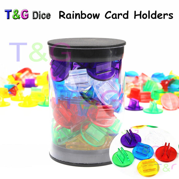 High Quality 50pcs/Tube Rainbow Translucent Plastic Game Card Stands,Board Game Pieces/Accessories,Perfect for 2mm Cards