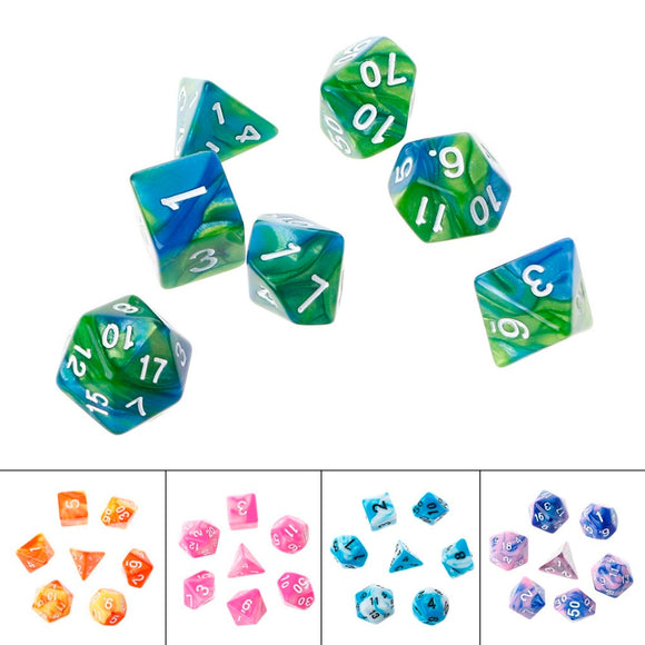 Acrylic Polyhedral Dice For TRPG Board Game Dungeons And Dragons D4-D20 7PCS/SET A28