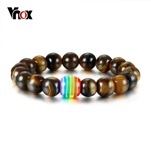 Vnox Gay Lesbian Pride LGBT Rainbow Natural Tiger's Eye Stone Lava Rock Beaded Rainbow Bracelets for Men Women