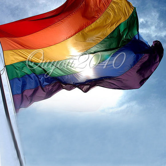 3x 5ft Flag Gay Lesbian Pride Rainbow Indoor Outdoor Yard w/ Grommets USA STOCK