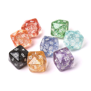 2pcs 24 Sided Transparent Resin Digital Dice Dungeons&Dragon D&D RPG Game Dices