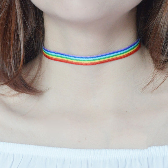 Colorful Rainbow Choker Gay Pride LGBT Clavicle Chain Fashion Simple Necklace