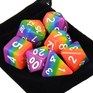 7pcs d&d Set Of D4 D6 D8 D10%D12 D20 Rainbow Polyhedral Dice Set Rpg Board Game Dice For Board Game Dungeons & Dragons With Bag