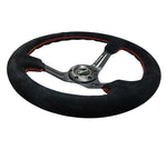 NRG Deep Steering Wheel 350mm Black Suede Red Stitching