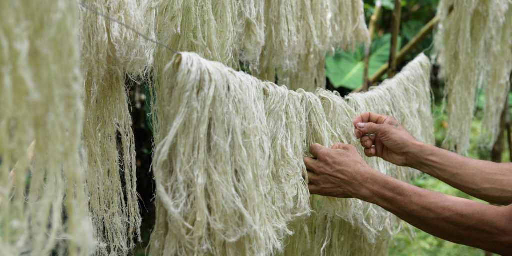 Natural fibers drying on a line