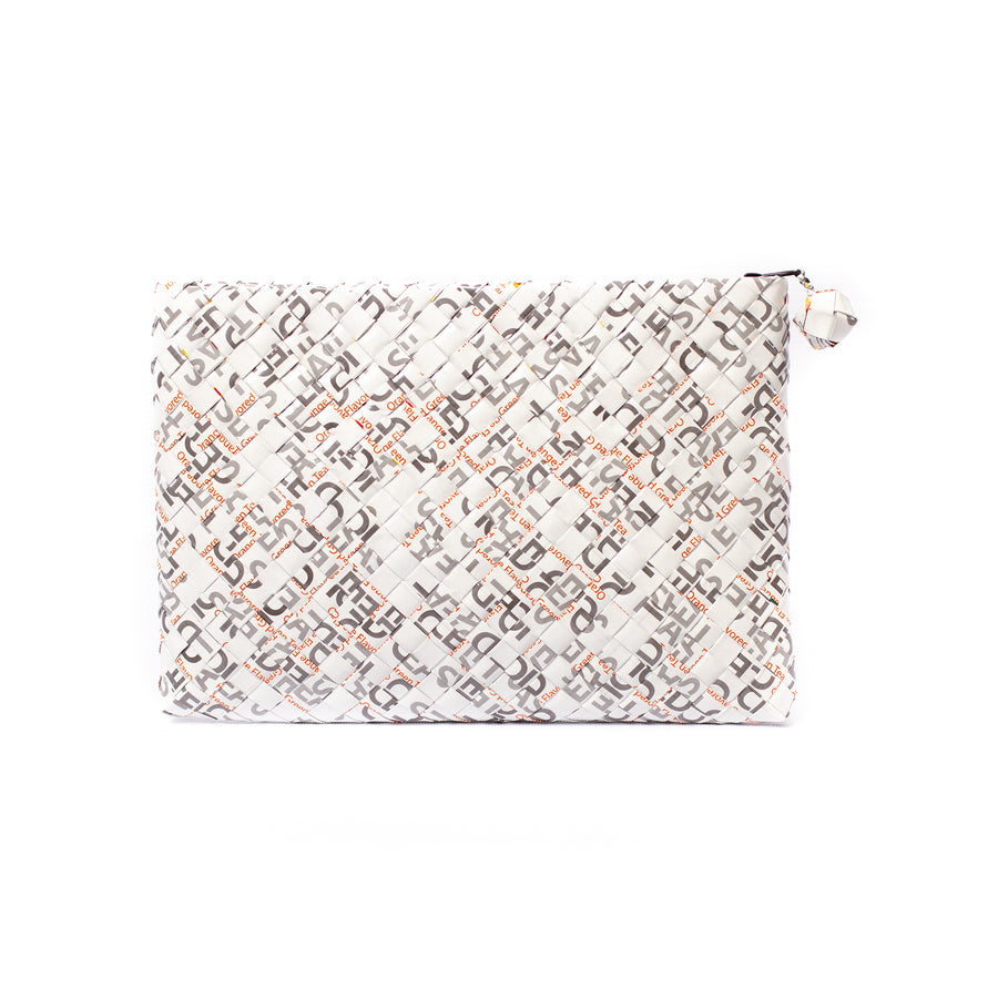 Limited Edition - White Woven Maxi Clutch
