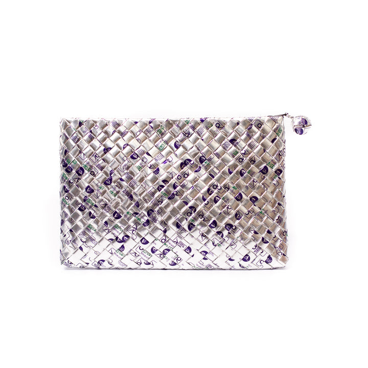 Limited Edition - Silver Woven Maxi Clutch