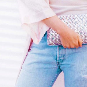 Mother Erth - Silver Woven Clutch | Handmade and Eco Friendly