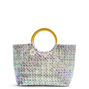 Mother Erth - Silver Rattan Handbag | Upcycled and Eco Friendly