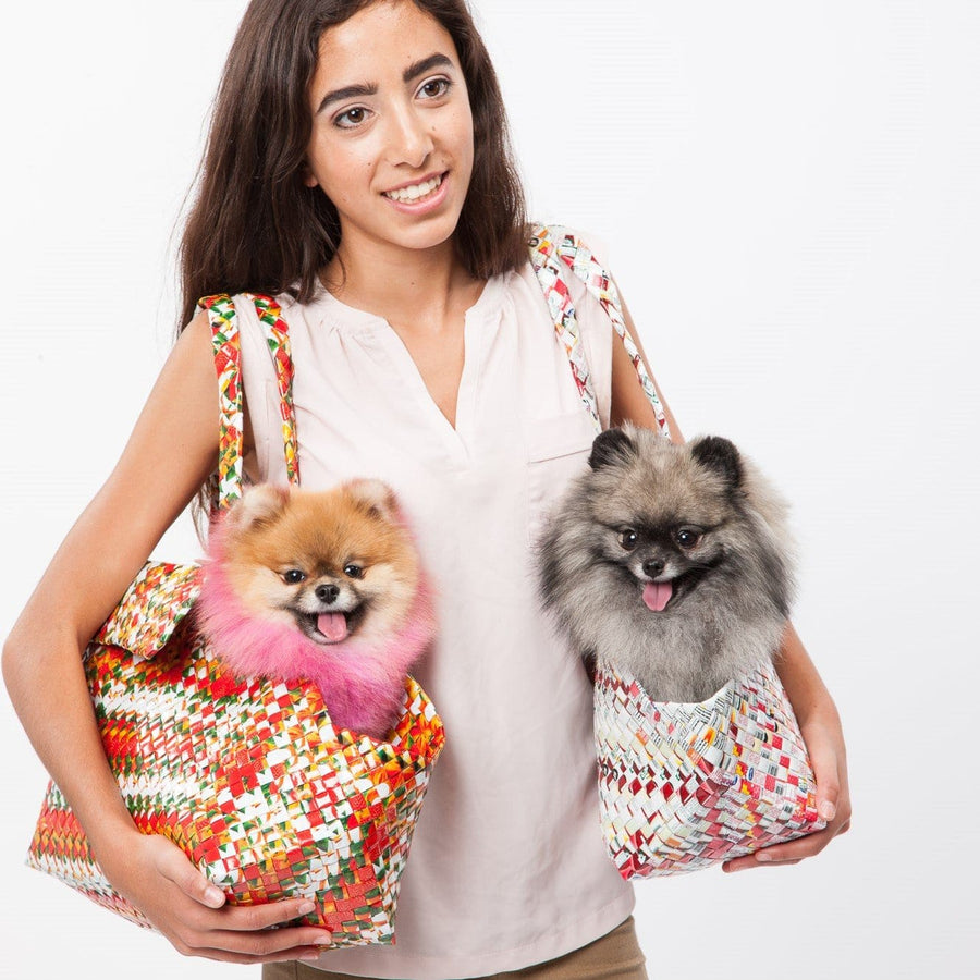 Mother Erth - Artisan's Choice - Aztec Pattern Dog Carrier Tote | Handmade and Eco Friendly